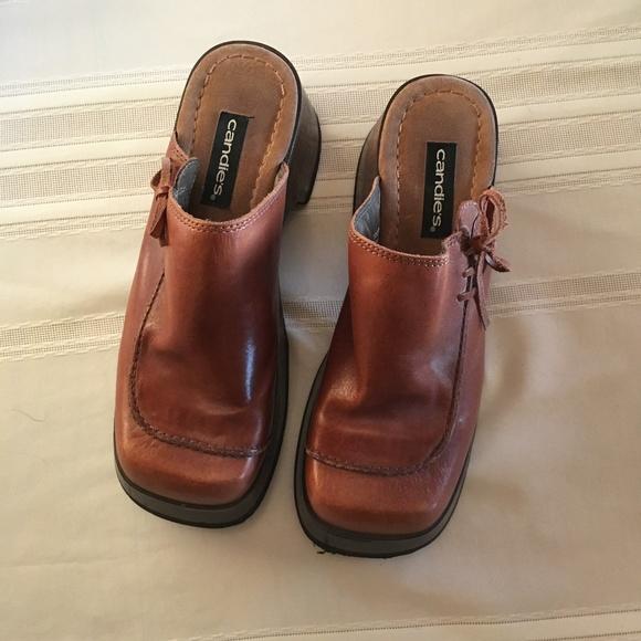 829e9f6a22c Candie s Shoes - Vintage 90 s Candies Brown Leather Platform Mules